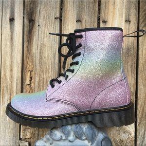 NWT Dr. Martens 1460 Glitter Combat Boot Pink 6